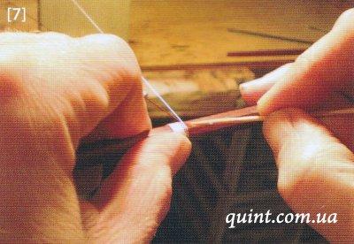 Обмотка из серебра и шелка на трости смычка